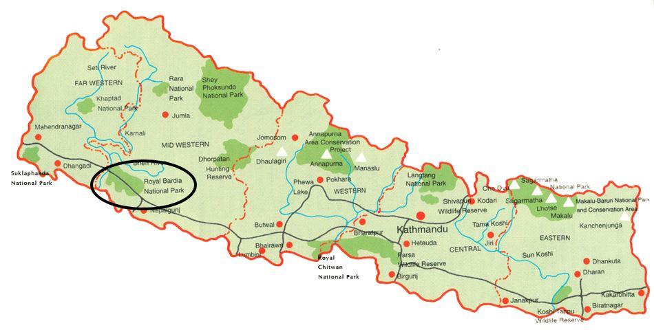 Dort wo der schwarze Kreis ist, liegt der Distrikt Bardiya. Wie man sieht, gibt es dort auch einen Nationalpark, und es liegt ein ganzes Stück weg von Kathmandu und fast an der indischen Grenze.
