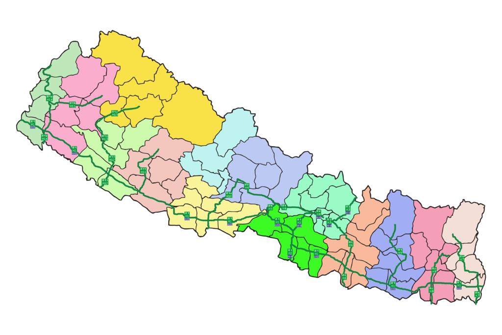 Hier sieht man das Highwaynetz durch Nepal. Nur an sehr wenigen Stellen ist da was zweispurig.