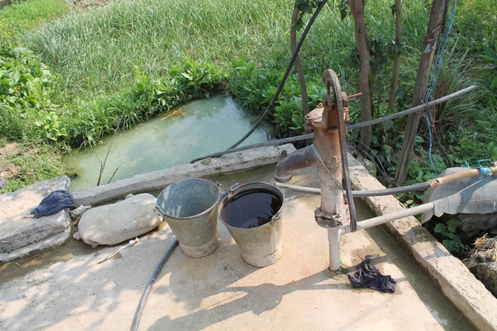 Hier sieht man den Brunnen, und dahinter das von ein paar Fröschen bewohnte Becken, in das das Wasser einfach ablief.