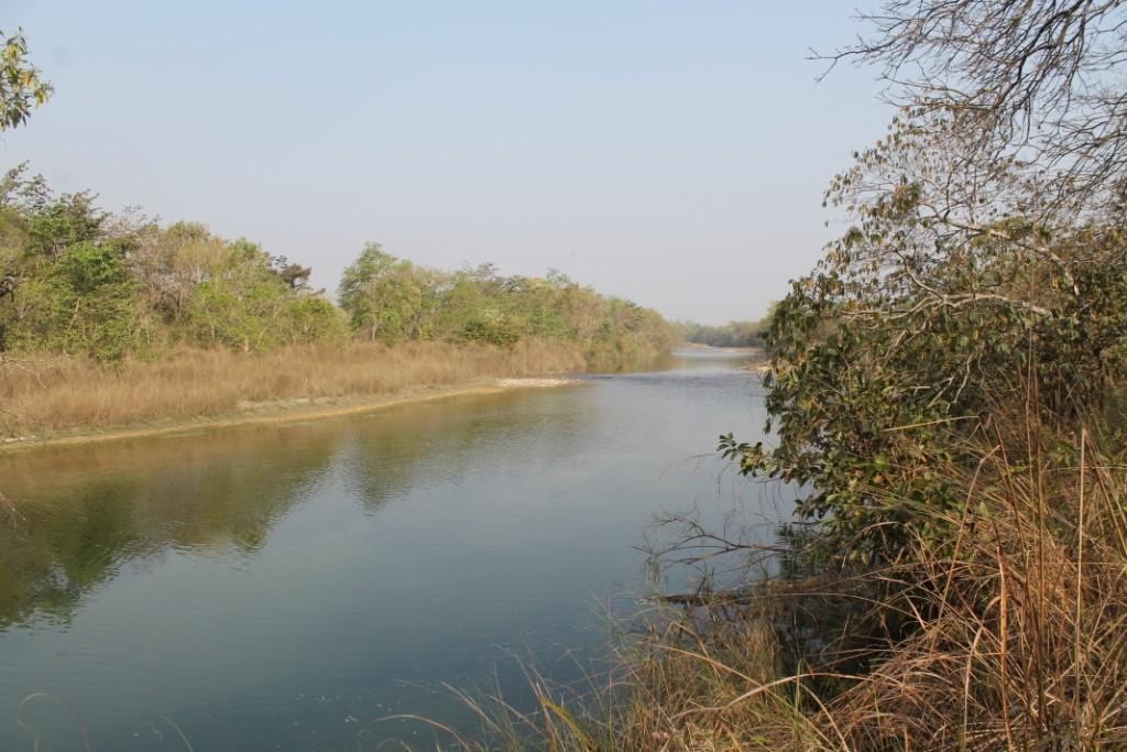 Gerade saßen wir etwas geschützt im Gebüsch mit Blick auf diesen Fluss, weil hier manchmal große Tiere entlangkommen, als unser Guide einen Anruf bekommt...